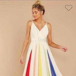 AURA | Arc Rainbow Stripe Maxi Dress w/ Belt